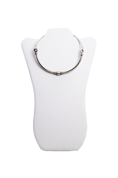 pamela love silver toned choker with sleek symmetrical bead arrangement. featuring hinged design with hook style closure and subtly branded single bead.