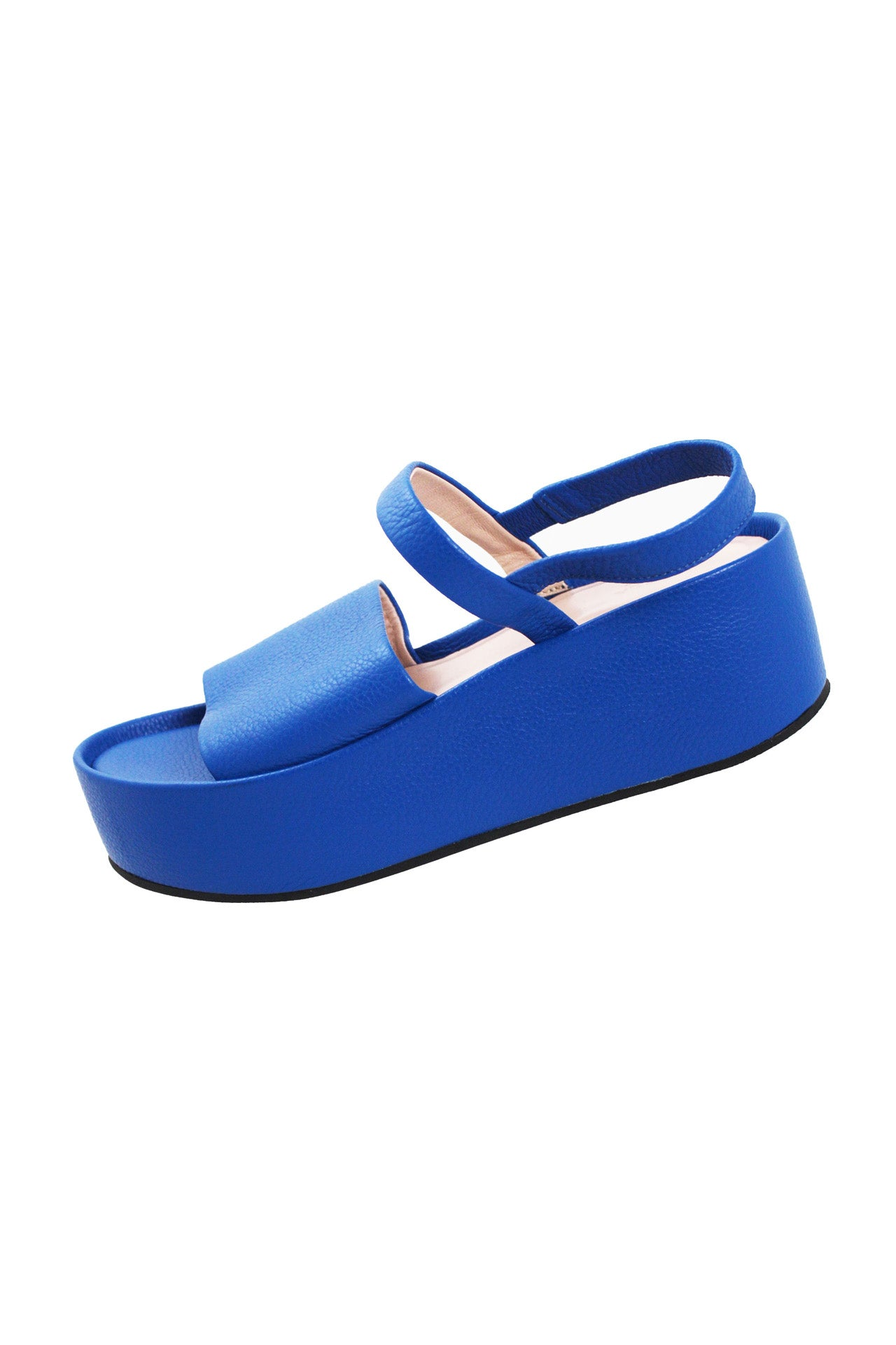 furla cobalt leather slingback platform shoes. features cobalt leather exterior, elastic slingback opening and leather soles.