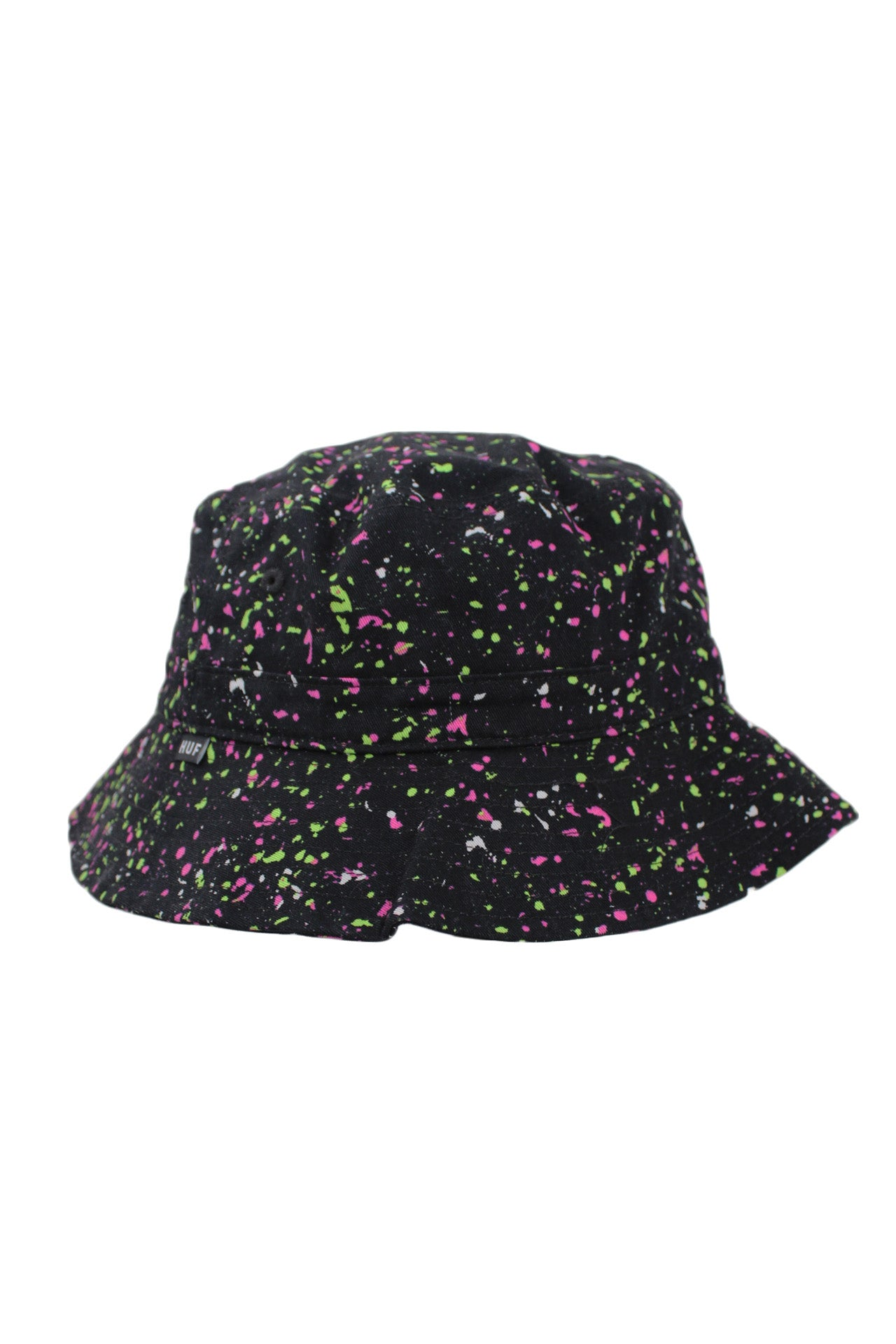 "huf x downhill black/green/pink/white speckled cotton bucket hat. features 'downhill' logo embroidered at front left of crown and a 'huf' logo tab at right side. brim measures ~ 2.25""."
