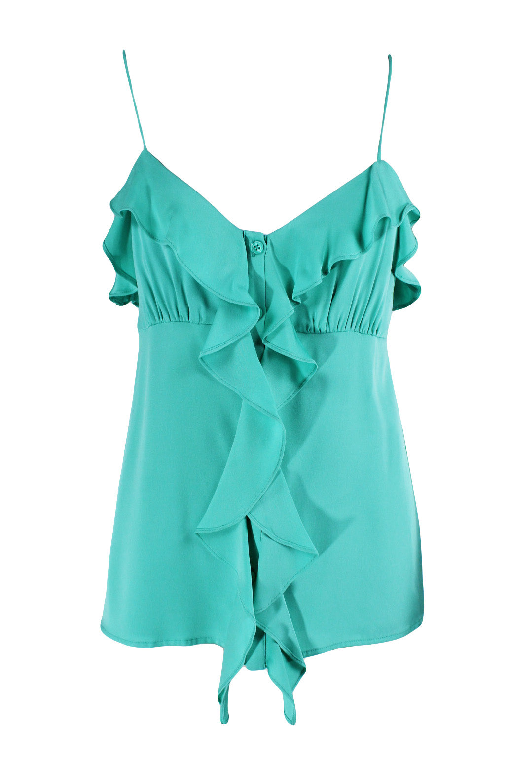 milly aqua ruffle cami top. features concealed button down front with ruffles along the center, back, & bust. lined interior.