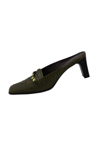 vintage franco sarto green snake embossed leather shoes. features green snake embossed leather exterior, green rhinestones on upper, brown contrast stitching at toes, with brown heels and interiors.