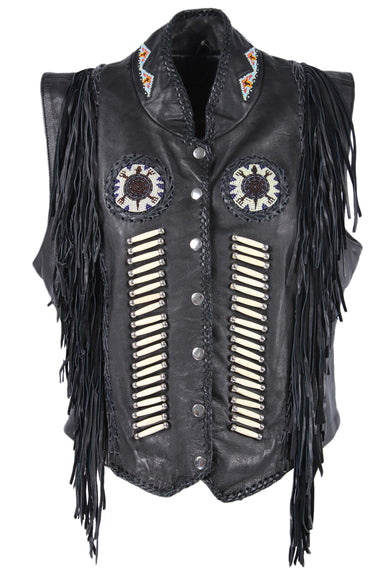 description: vintage hot leathers black vest. featuring fringe and beaded details with a button clasp closure.