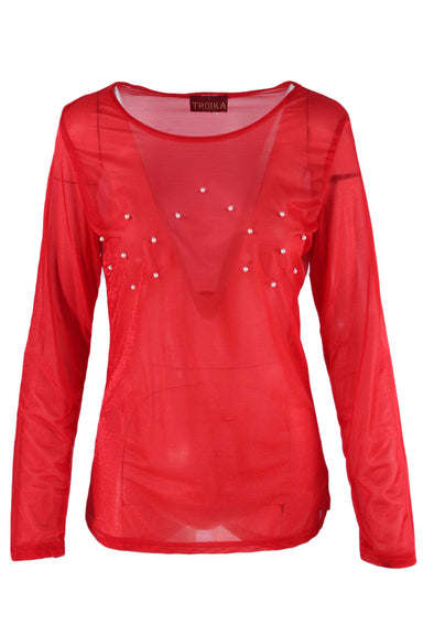 description: vintage troika red long-sleeve top. featuring beaded pearl details across chest.
