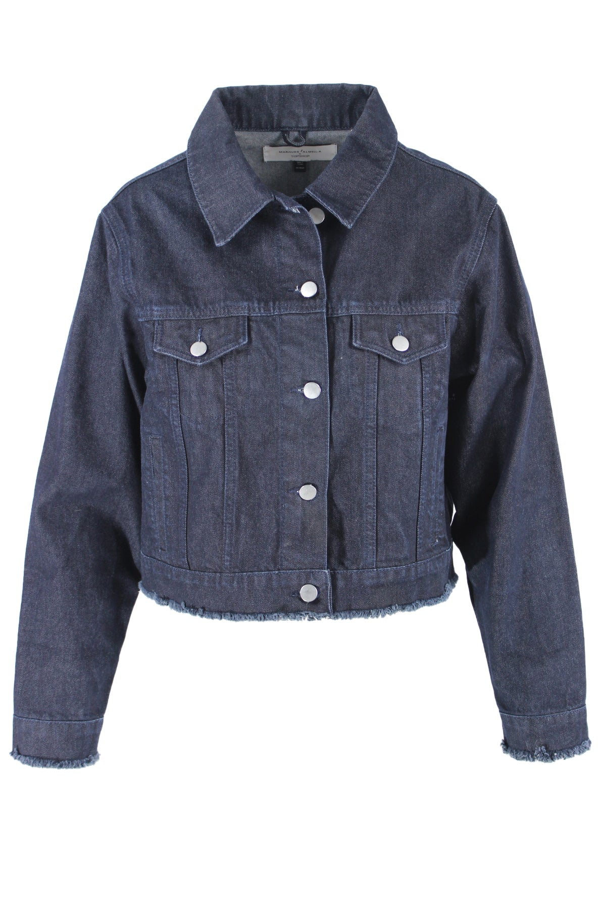 topshop x marques almeida dark wash cropped denim trucker jacket. featuring brushed silver hardware, button down closure, 4 pockets, raw bottom hem, adjustable waist tabs, and boxy silhouette.