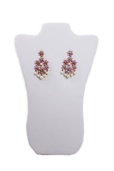 j crew gold and pink floral drop earrings. features faux pearls and transparent rhinestone details.