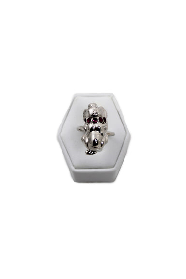 eva segoura silver tone basset hound dog cuff ring. features 7 purple swarovski crystals embedded on pup pendant.