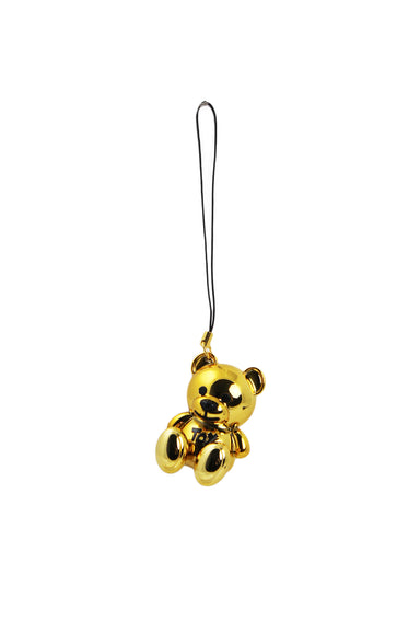 description: moschino gold phone charm. featuring teddy bear shape.