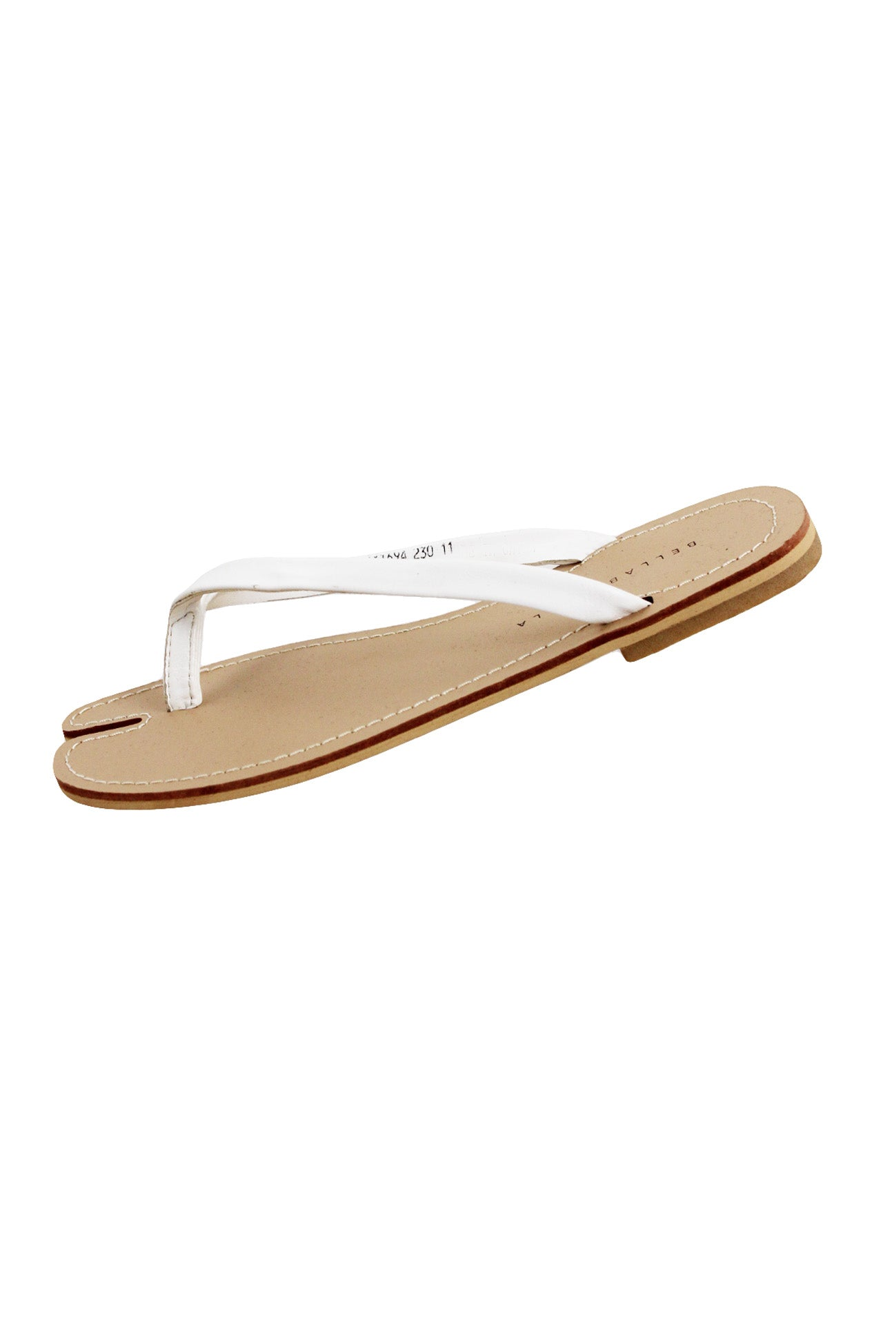 description: bella by bella white flip flops. featuring a tan split-toe sole.