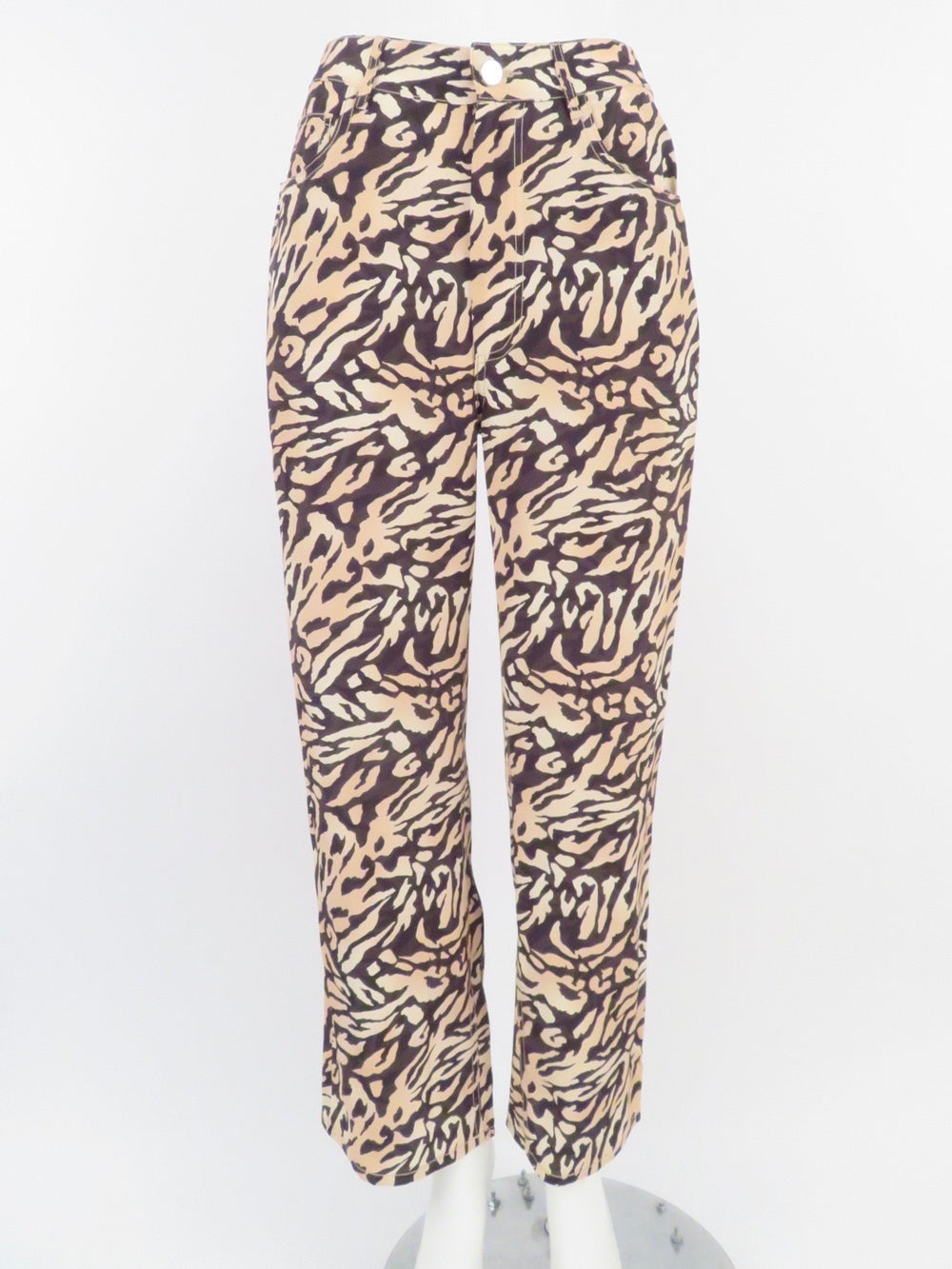 fleur du mal tiger print high waist pants. featuring pockets at sides and back, and front zip and buttoned closure. original tags attached.