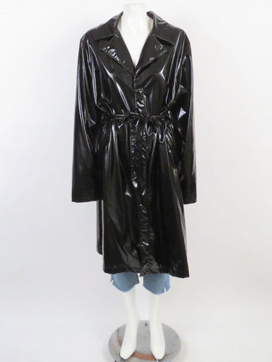 rains black unisex shiny rain trench coat. button down front closure with belted waist. pockets at sid