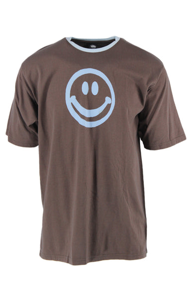 sarcastic homme dark taupe crew neck short sleeve tee. features a baby blue smiley face graphic & neckline.