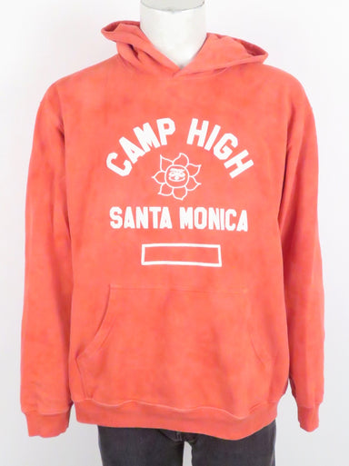 camp high collective pullover hoodie. features 'camp high santa monica' graphic puffy paint printed at front. kangaroo pouch pocket at front.