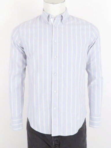 rag & bone tomlin oxford long sleeve shirt. features vertical stripe pattern throughout with logo embroidered at front left above hem. front button closure with button down collar.