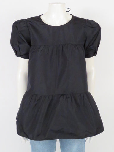 zara black a-line tiered blouse. featuring puff sleeves and tied detail at back of neck.