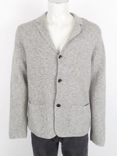 club monaco grey knit cardigan. features front button closure. hand pockets at front.