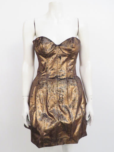 maje chocolate metallic bustier mini dress. features full zipper back closure, bustier bodice. note: does not fit mannequin. original retail $865.