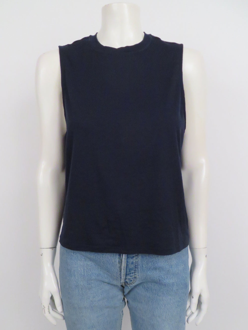 outdoor voices midnight blue athletic t-shirt. features classic sleeveless silhouette with crew neckline.