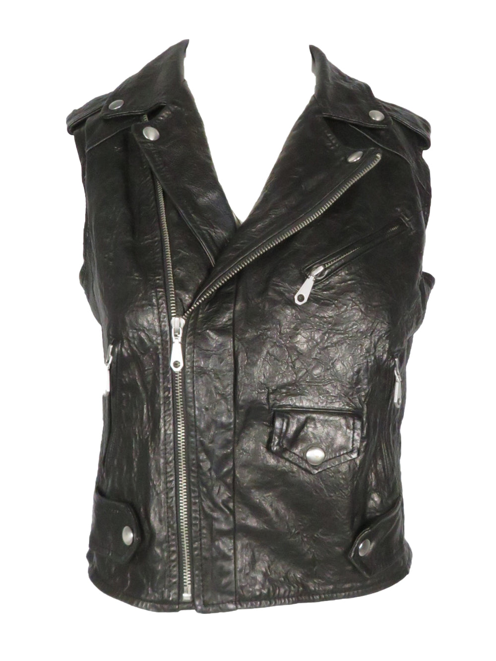 rebecca minkoff black lambskin 'leandra' textured leather vest. cropped, fitted cut featuring classic biker details and textile back panel. asymmetrical front zip closure, lined.
