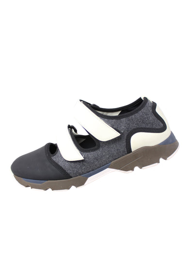 marni gommus gray, black, and white sneakers. features an exposed upper with two velcro strap closures.