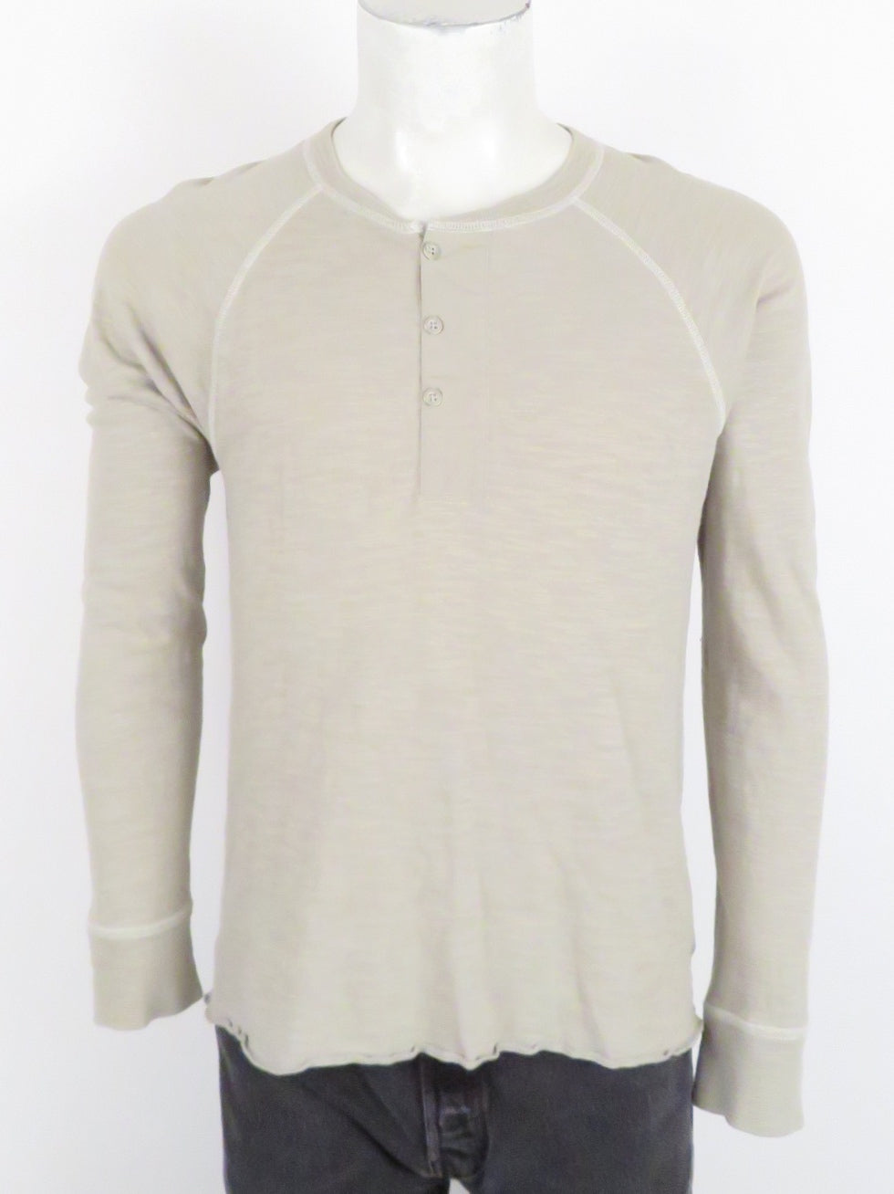 rag & bone greige long sleeve pullover henley sweater. features three button placket. ribbed at collar and cuffs.