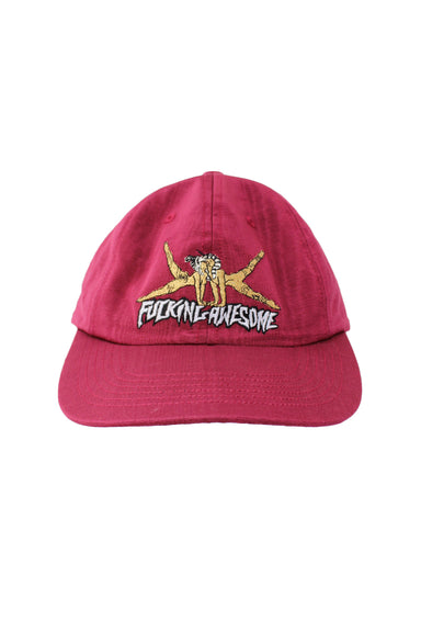 fucking awesome burgundee unstructured six panel hat. features 'fucking awesome' grahpic embroidered at front with adjustable snap/clasp closure at back.