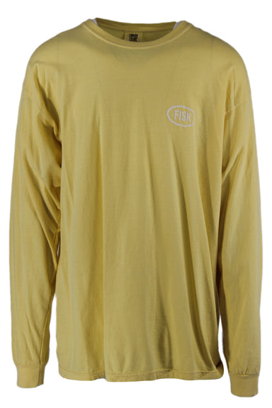 comfort colors baby yellow long sleeve cotton shirt. features 'fisk' printed at left breast with ribbed collar and cuffs.