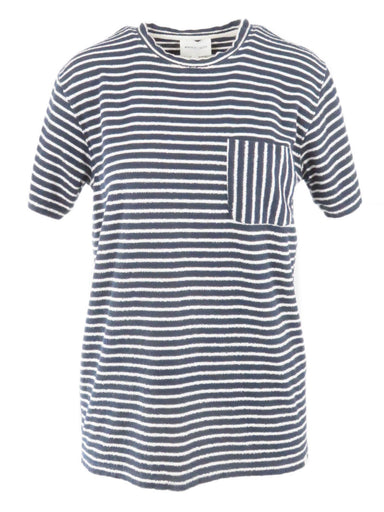 norse projects navy blue and white jersey tee. features towelling jersey fabric with soft and warm feel. vertical stripe pocket. regular fit