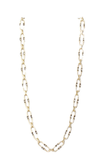 unlabeled gold tone chain link necklace. features rectangle rhinestones throughout and a single charm.