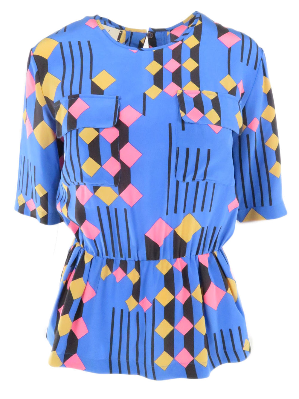 marni blue pink and tan peplum top. features dual pockets at front panel and open back slit.