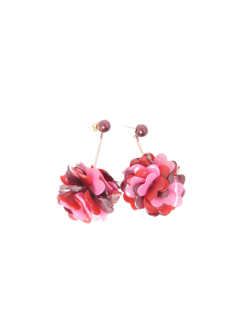 unlabeled flower drop earings in purples. features large ball of floral design heart shaped petals. note one earring back is missing