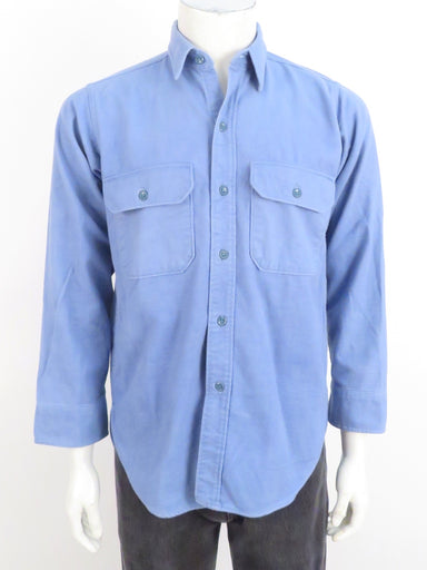 vintage woolrich sky blue button up flannel shirt. features double breasted button flap pockets.