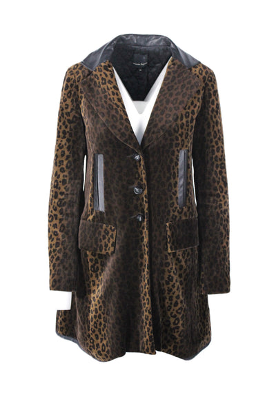 nanette lepore brown leopard midi coat. features black genuine leather trimming.