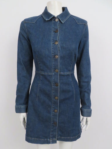reformation blue denim dress. features full length button down front closure with collar and minimalist western stitching at shoulders.
