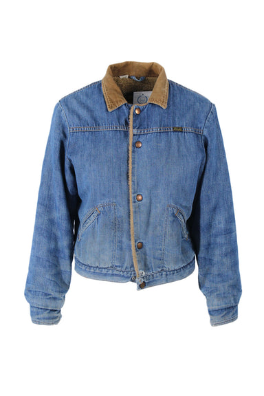 vintage wrangler medium blue denim jacket. features light brown inner and collar, pockets, and perfectly distressed denim.