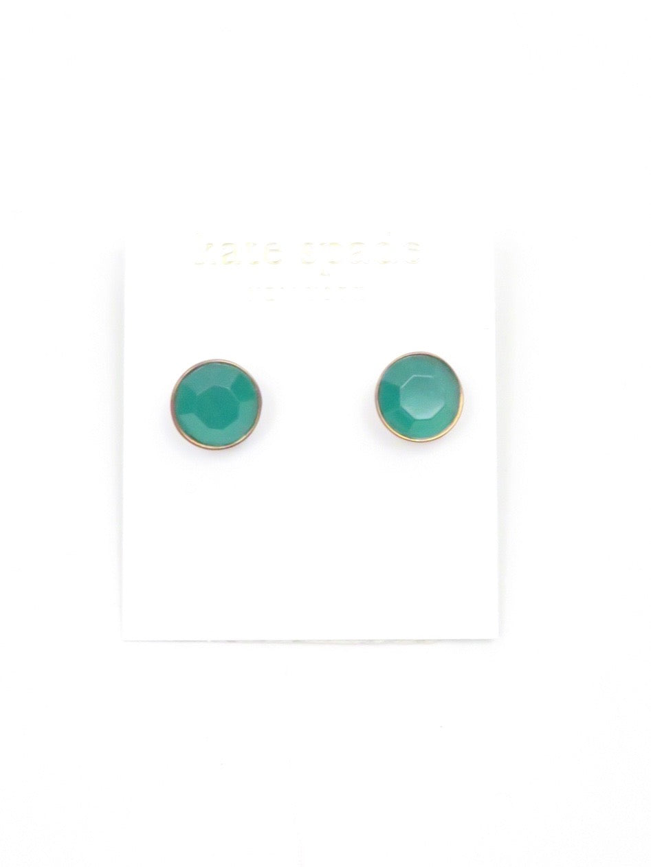 kate spade emerald costumer earrings. emerald tone faux stone with gold shell. stud backs. comes in original dust bag.