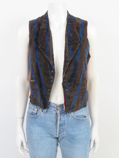 "vintage victorian era antique black and blue striped velvet vest. sold in ""as is"" condition for collecting purposes. the garment is still wearable but has damage from age throughout. button down front closure."