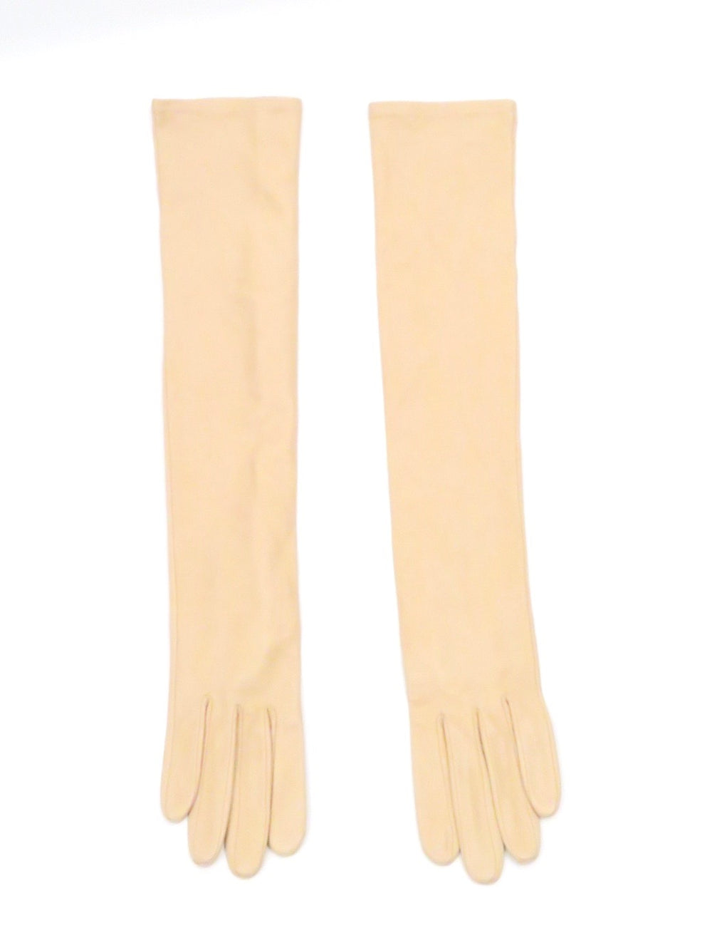 unlabeled beige long leather women's gloves. above elbow length suede lining.
