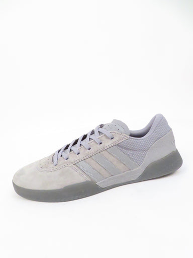 adidas grey suede/textile shoes. features branding at heel and sides. top flat lace closure.