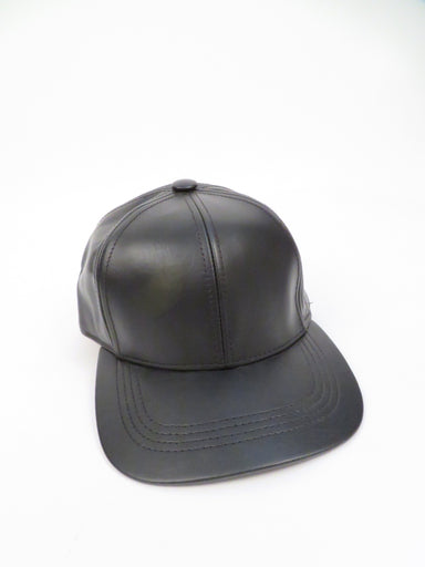 unlabeled black leather six panel hat. features adjustable velcro strap closure at back.