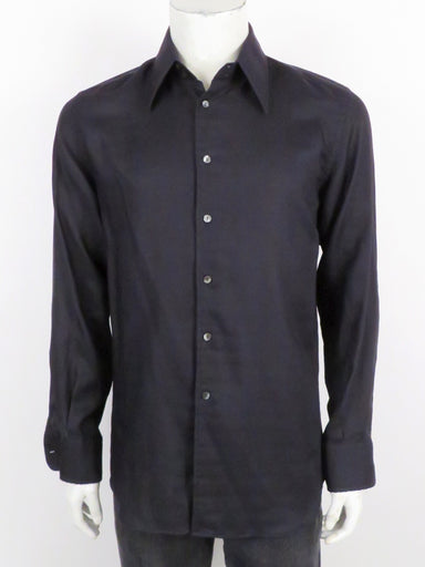 dolce & gabbana midnight long sleeve button up shirt. features branded buttons at placket.