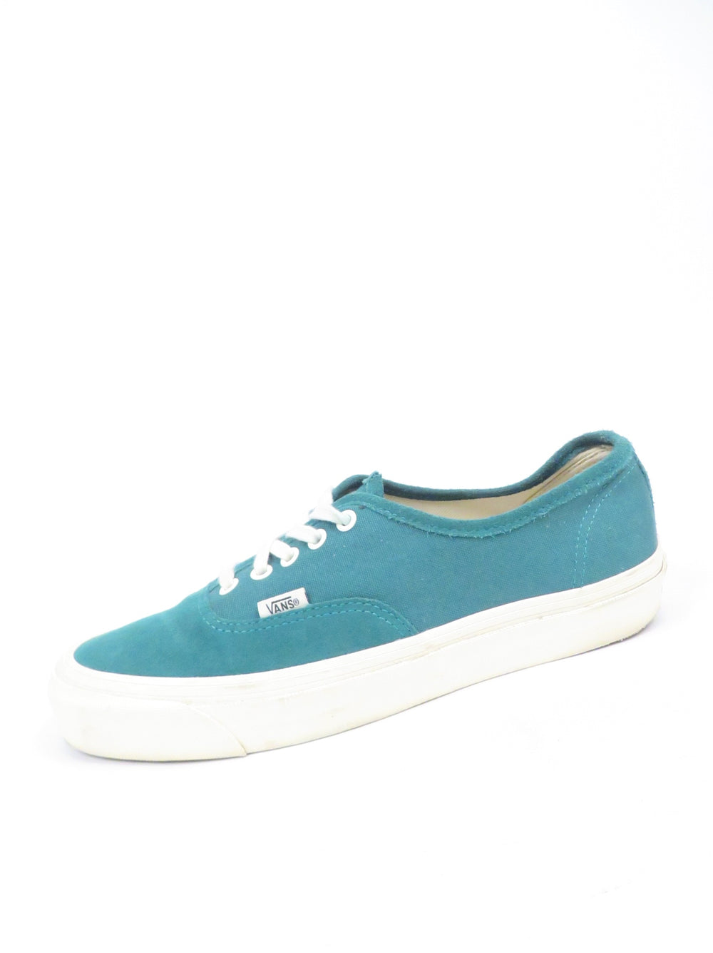 vans originals 'authentic' teal/bone shoes. features 'vans' logo tab at side and heel. vulcanized waffle grip sole.