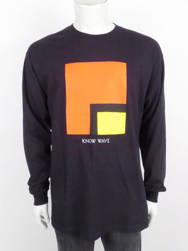 know wave archival black long sleeve shirt. features 'know wave' graphic printed at front. ribbed at collar and cuffs.