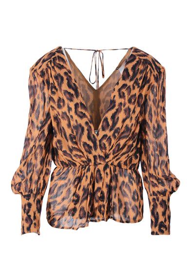 derek lam deep v neck top. features leopard print and subtle v neck and tie at the back.