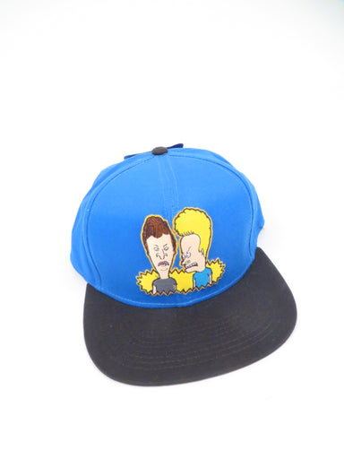 beavis and butt-head royal blue/black six panel hat. features beavis and butt-head grpahic embroidered at front. 'uh...hey baby.' printed at underside of brim.