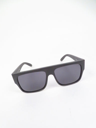 le specs matte black rectangle frame bravado sunglasses. features 'le specs' logo etched at left lens.