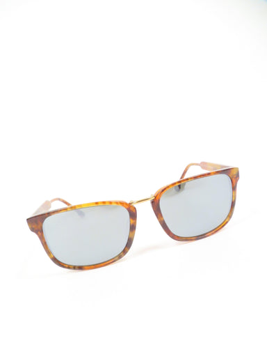 steven alan brown heather 'oliver' unisex sunglasses. features rectangular frames with polarized lenses.