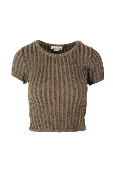 vintage dark green and brown knit short sleeve top. features vertical stripes throughout.