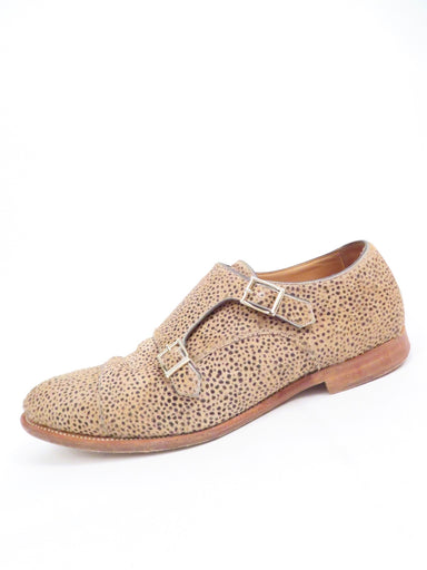 "foot the coacher cheetah print pony hair dress shoes. features double buckle monk strap closure. heel measures ~ 0.75""."