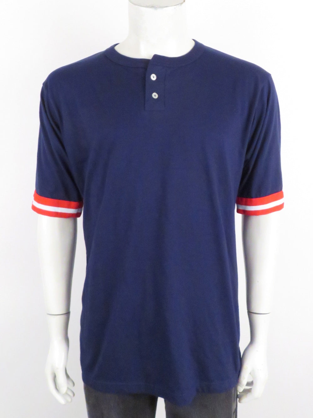 unlabeled navy henley shirt. features red/white stripe ribbed cuffs. double button placket.