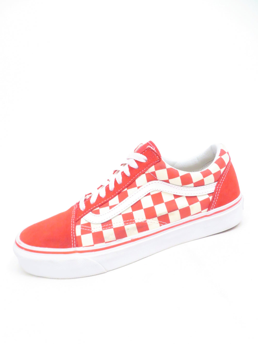 vans 'old skool' red/white checkered shoes. features signature stripe at uppers sides and logo tab at soles heel. vulcanized waffle grip sole.